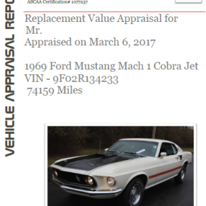 Vehicle Appraisal Report