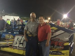 Steven visiting Bobby Bittle at I-55 Speedway after the races.
