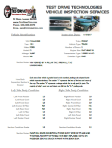 Pre-Purchase Vehicle Inspection Report by TDT - Page 1