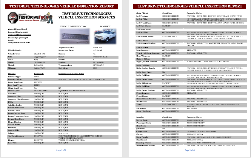 5 page vehicle inspection report
