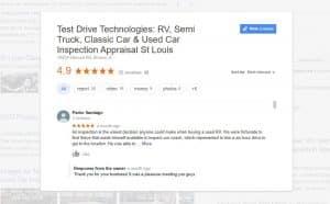 Google Reviews - Test Drive Technologies Vehicle Inspection Appraisal Services