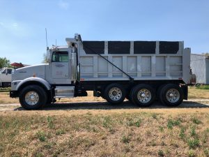 Dump Truck, White, Tri Axle Side Shot