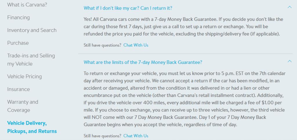 CARVANA FAQ On RETURNS